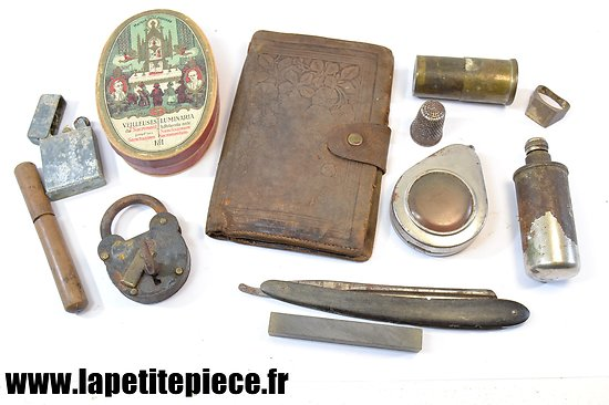 Lot d'effets personnels Français époque Première Guerre Mondiale