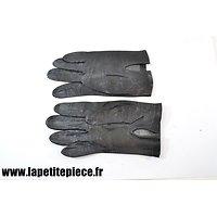 Paire de gants en cuir noir style Officier Allemand Deuxième Guerre Mondiale