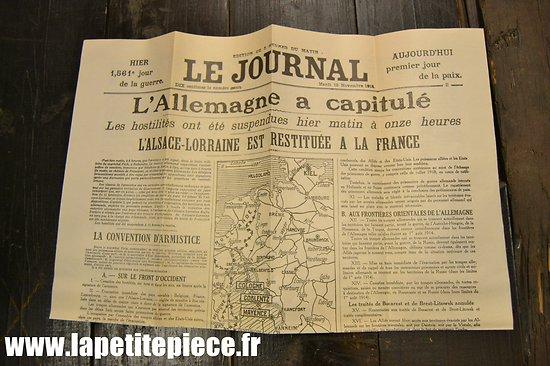 Repro Journal du 12 novembre 1918, capitulation de l'Allemagne