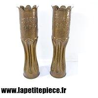 Paire de vases artisanat de tranchée SOUVENIR 1914 1919 Marne