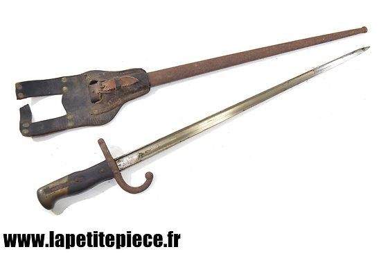"""Baionnette Française modèle 1874 """"Gras"""", porte fourreau ersatz WW1"""