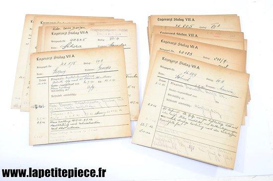 Lot de fiches médicales prisonniers Stalag VII A - Moosburg