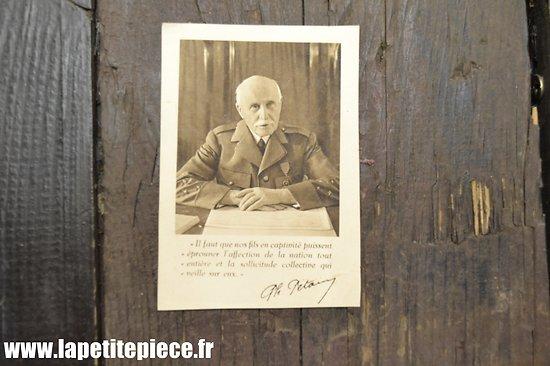 Carte Pétain, assistance aux prisonniers de Guerre - France régime de Vichy