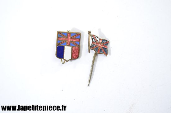Lot badges entente Franco-Anglaise, drapeaux