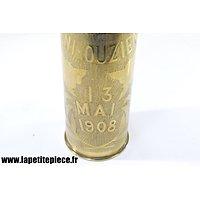 Douille gravée souvenir du combat de Beni Ouzien (Maroc) 13 mai 1908. Tirailleurs Algériens