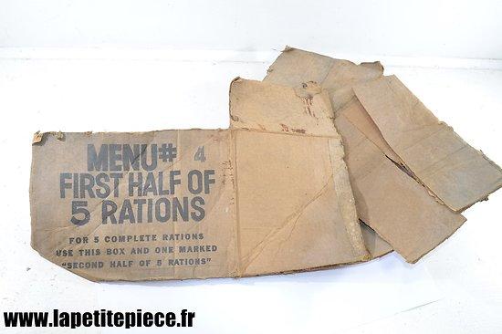 Carton de ration US MENU 4 - état moyen