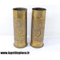 Paire de vases, artisanat de tranchée Première Guerre Mondiale