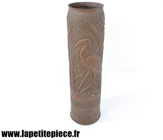 Vase douille artisanat de tranchée Héron Première Guerre Mondiale