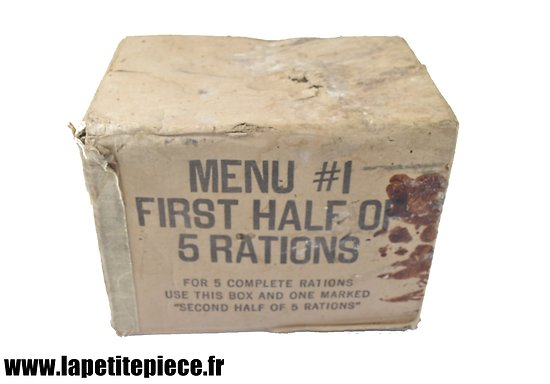 Carton de ration MENU #1 FIRST HALF OF 5 RATIONS