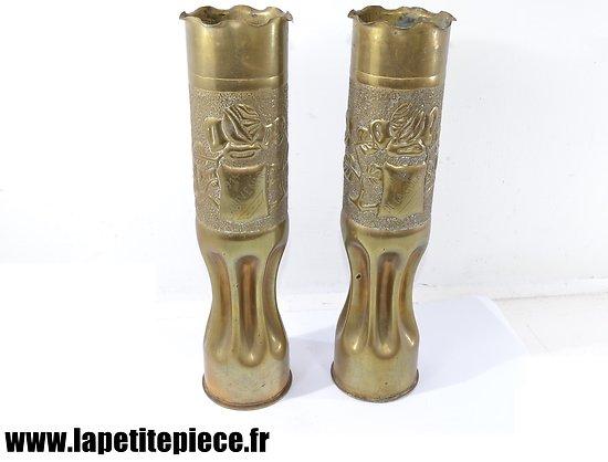 Douilles / vases artisanat Souvenir de la Guerre 1914 1918