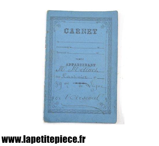 Carnet du cantinier du 39e de ligne à l'arsenal 1898