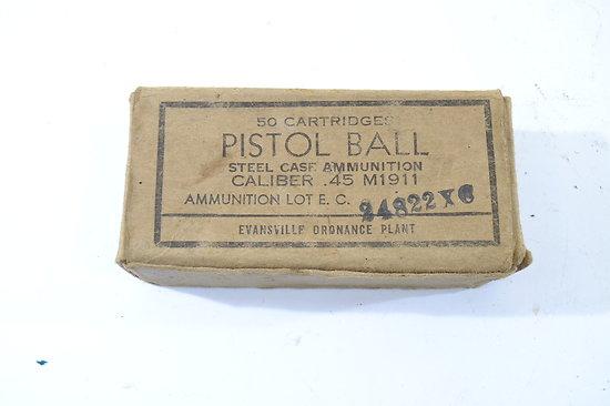 Boite US PISTOL BALL Caliber .45 M1911 Evansville Ordnance Plant