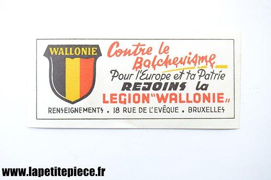 Autocollant propagande Rejoins la Legion Wallonie, 18 rue de l'Evêque Bruxelles