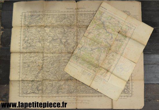 Carte Saint-Wendel (Sarrebruck) et demie-carte Sarreguemines (Moselle). WW2