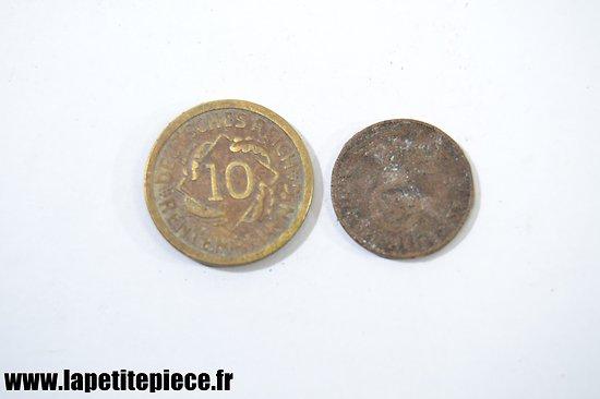 Lot de deux monnaies Allemandes Deuxième Guerre Mondiale