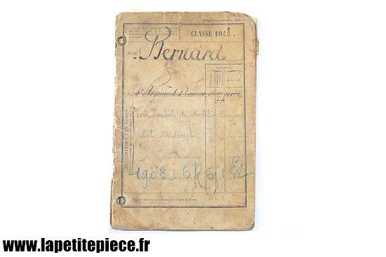 Livret individuel Français Classe 1903 - 4 régiment de Zouaves