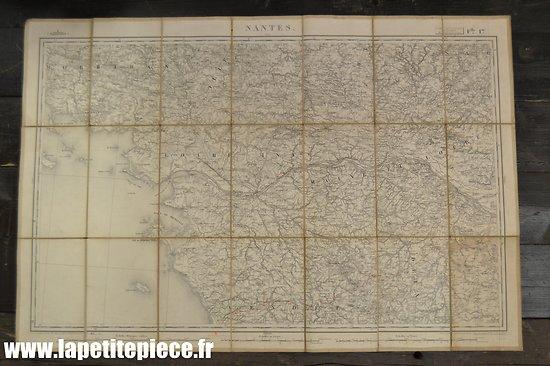 Carte toilée Lanée Longuet - NANTES - 19e Siècle