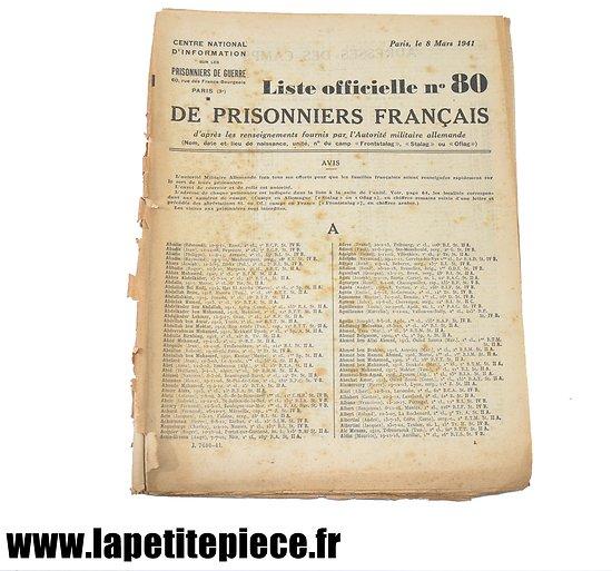 Liste officielle n°80 de prisonniers de Guerre Français 8 mars 1941