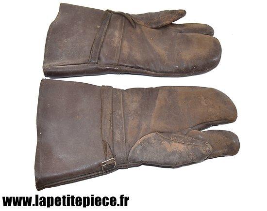 Paire de gants / moufles à index fourrés, style aviation