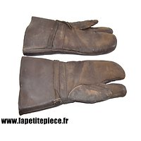 Paire de gants / moufles à index fourrés, style aviation