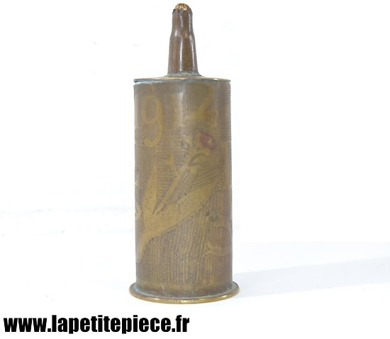 Lampe à pétrole bougie, artisanat de tranchée, souvenir de Verdun 1914 - 1917