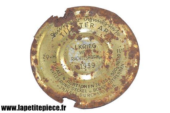 Couvercle de boite de conserve allemande, L. Krieg Werk Rachelshof Wpr. 1939, WW2
