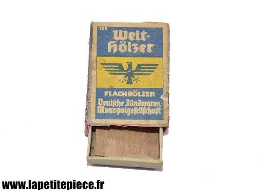 Boite d'allumettes allemande WW2, Welt-Holzer, Flachholzer, Deutsche