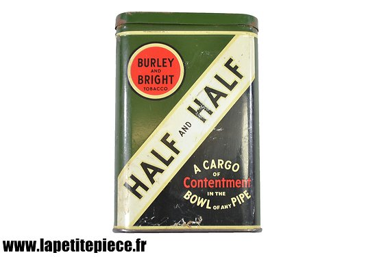 """Etui à tabac américain vide Half and Half, """"A cargo of Contentment in the bowl of any pipe"""", Burley and Bright tobacco"""