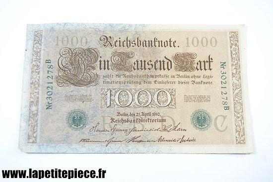 Billet Allemand 1000 mark 1910.