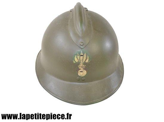 Casque Adrian modèle 1926 Défense passive reconditionné, insigne pochoir Légion