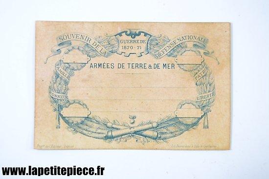 Repro carte postale souvenir de la Défense Nationale Guerre 1870 - 1871. Edition limitée