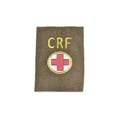 Repro patch de bras CRF Croix Rouge Française sur fond kaki. Conductrice