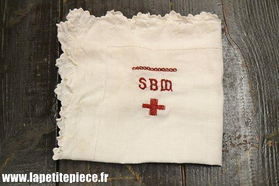 Repro mouchoir brodé SBM Secours aux blessés Militaires, Infirmière WW1