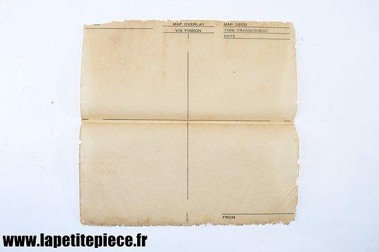 Feuille / calque pour transmission par Pigeon MAP OVERLAY VIA PIGEON US WW2