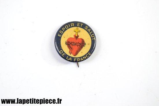 Broche Française époque Première Guerre Mondiale. Espoir et salut de la France, sacré coeur