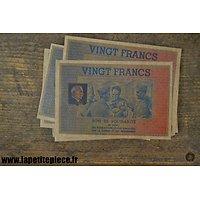 Repro - 20 Fr Bon de solidarité pour les prisonniers de Guerre, Régime de Vichy - occupation Allemande