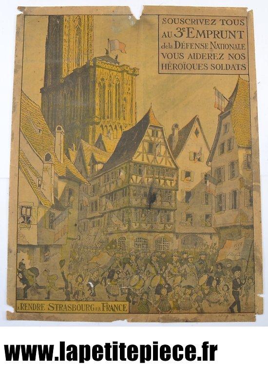 """Affiche 1917 '' souscrivez tous au 3e emprunt de la défense nationale, vous aiderez nos héroïques soldats"""""""