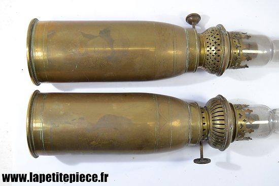 Paire de lampes - artisanat ALSACE LORRANE - Première Guerre Mondiale.