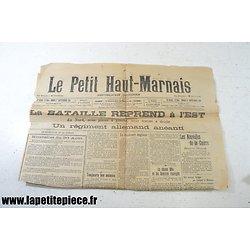 Journal Le Petit Haut-Marnais du mardi 1 septembre 1914.  Carte des opérations