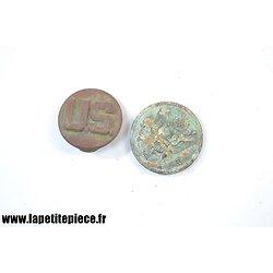 Lot disque de col et bouton, US Première Guerre Mondiale. Pièces de terrain.