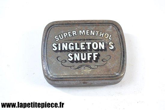 Boite Anglaise de Tabac à priser - singleton's super menthol snuff