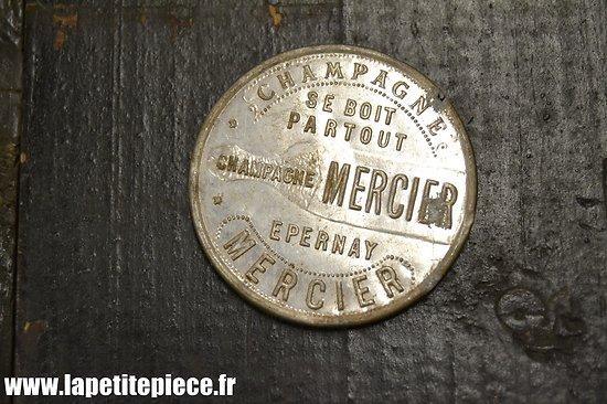 Miroir de poche publicitaire Champagne Mercier. Début 20e Siècle