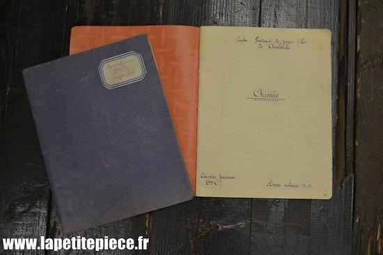 Cahiers de classe Jeannine Tassin, année scolaire 1939-40, école Pratique de jeunes Filles de Charleville (Ardennes)