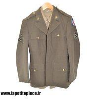 Veste US WW2 - Sergeant coast Artillery Anti Aircraft Command coat wool + Shirt Flannel OD coat style