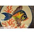 Assiette décorative murale Poisson kitch, signé KIM