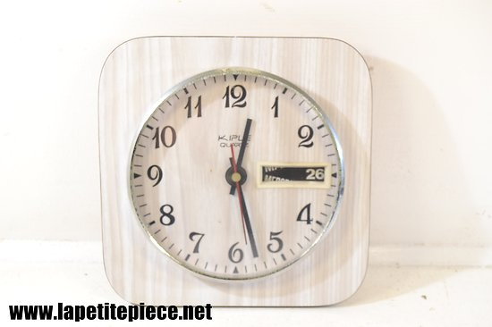 Horloge en Formica KIPLE Quartz - années 1960 - 1970