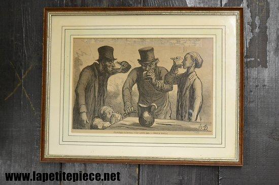 Illustration Honoré Daumier H.D. 1862 Physiologie du buveur - Les quatres âges