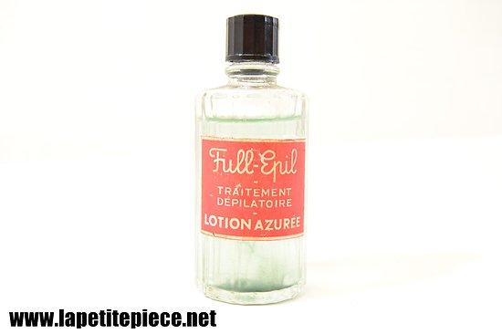 Flacon cosmetique années 1930. FULL-EPIL traitement dépilatoire Lotion Azurée