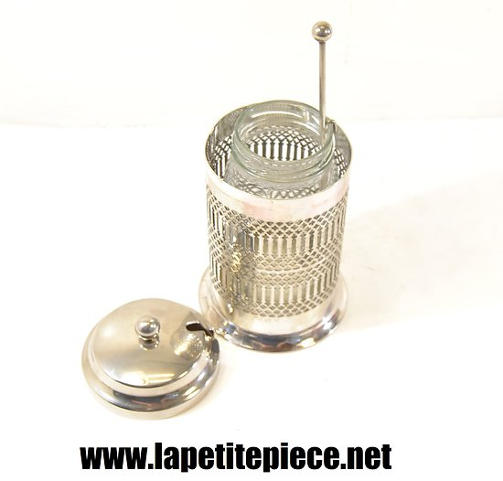 Confiturier Anglais en métal argenté