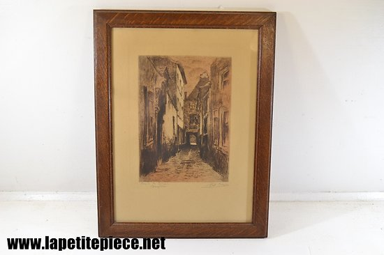 Eau fort Pol Craps (1877-1939) Bruxelles : rue de la Cigogne